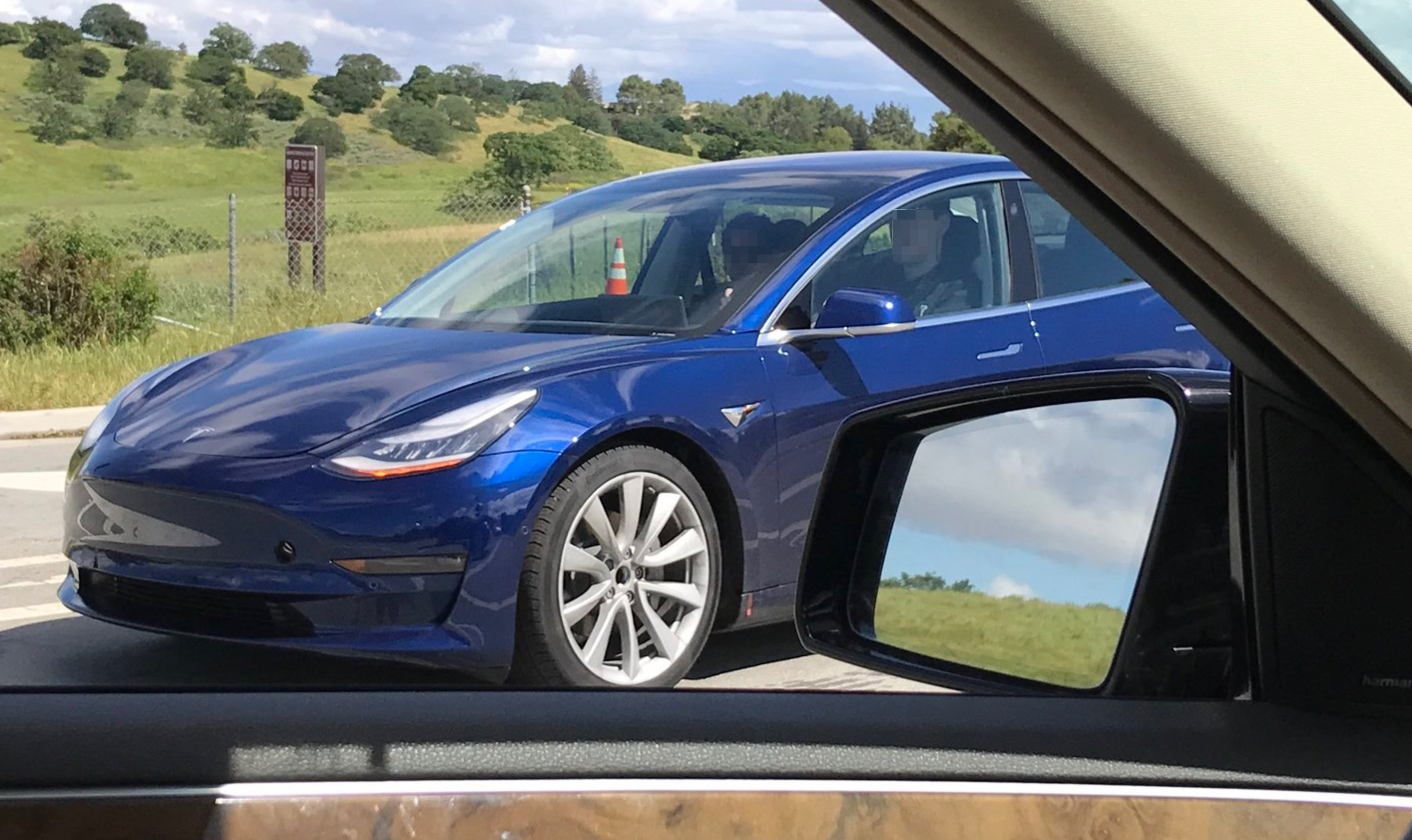 First Sighting Of A Blue Tesla Model 3 Testing On The