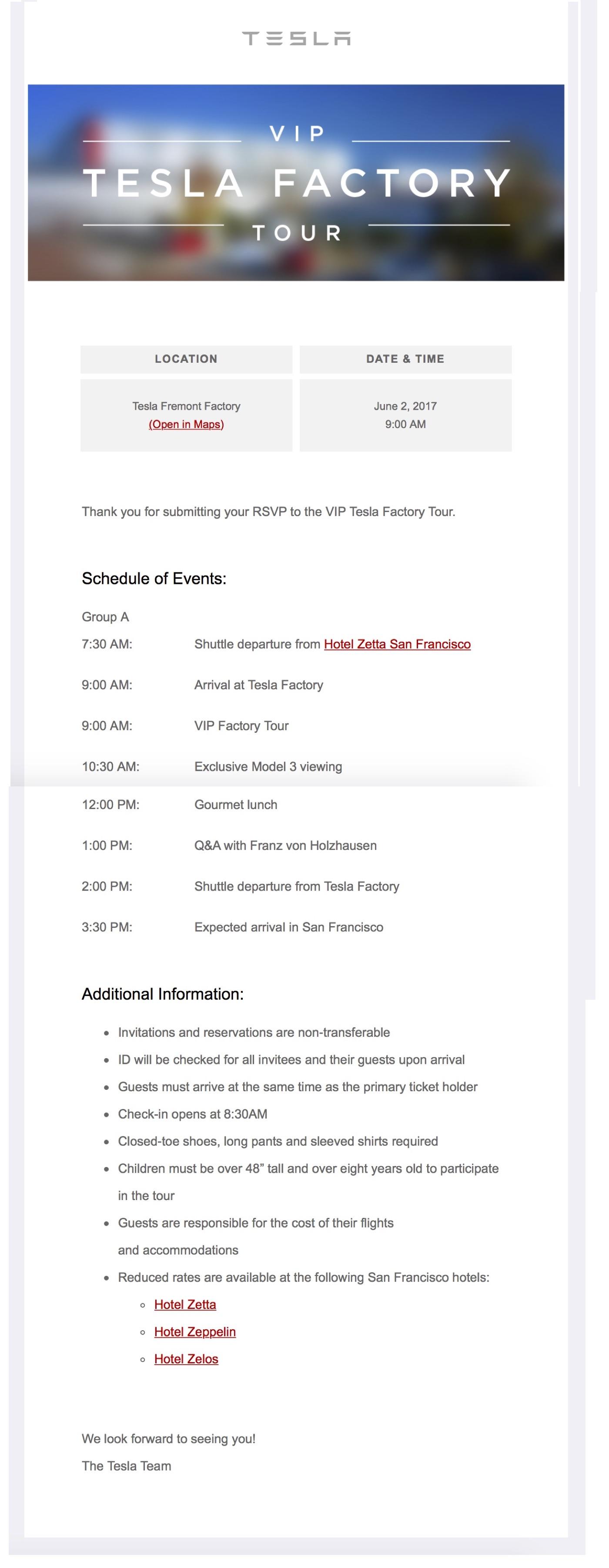 tesla-vip-factour-tour-itinerary