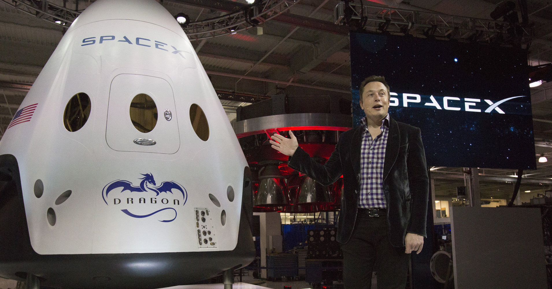 SpaceX CEO Musk speaks after unveiling the Dragon V2 spacecraft in Hawthorne