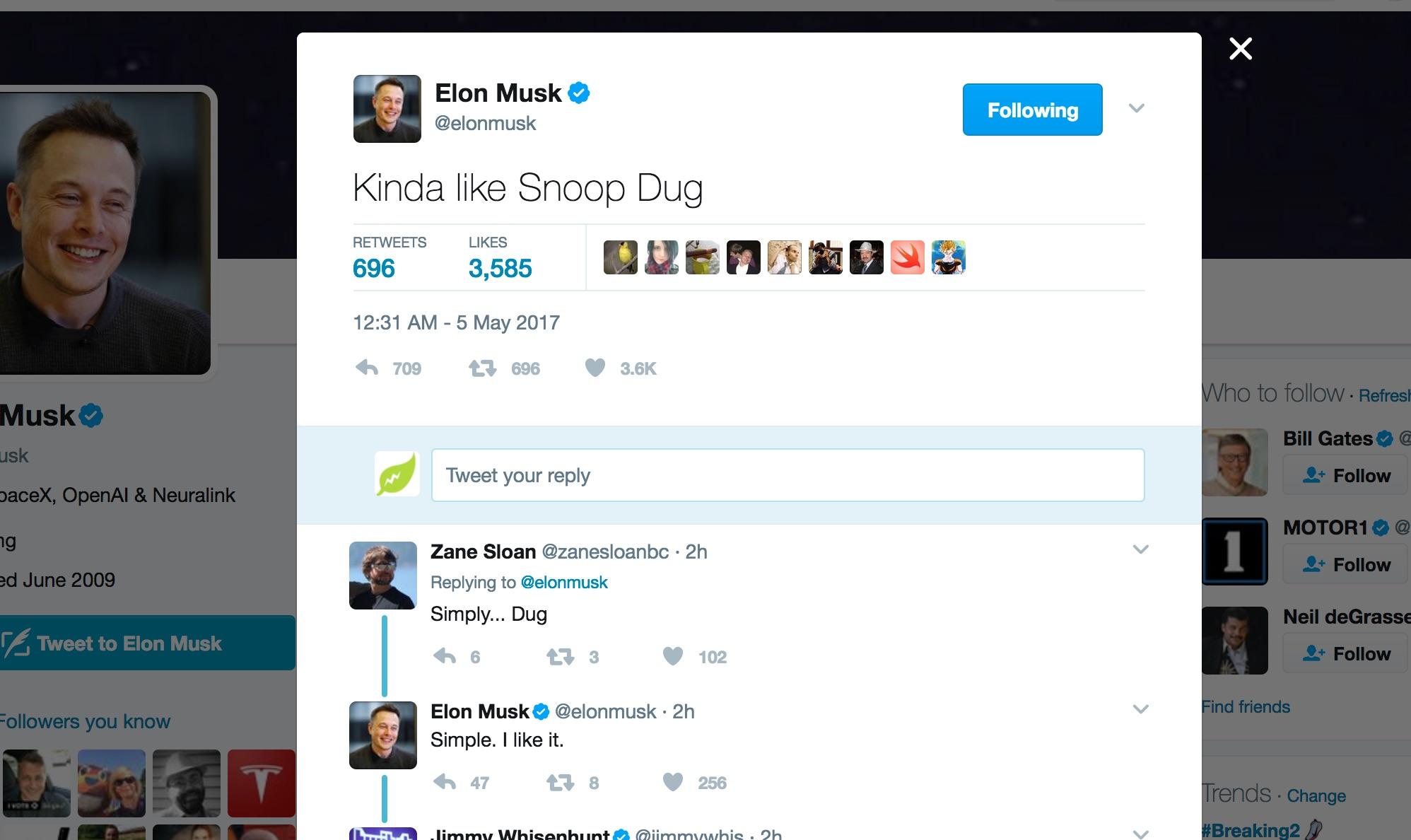 Elon Musk Likes The Name Snoop Dug For His Boring Machine