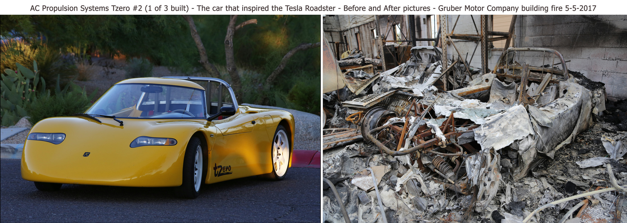 Historic Tzero That Inspired Musk To Create Tesla S Roadster Burned Down In A Fire