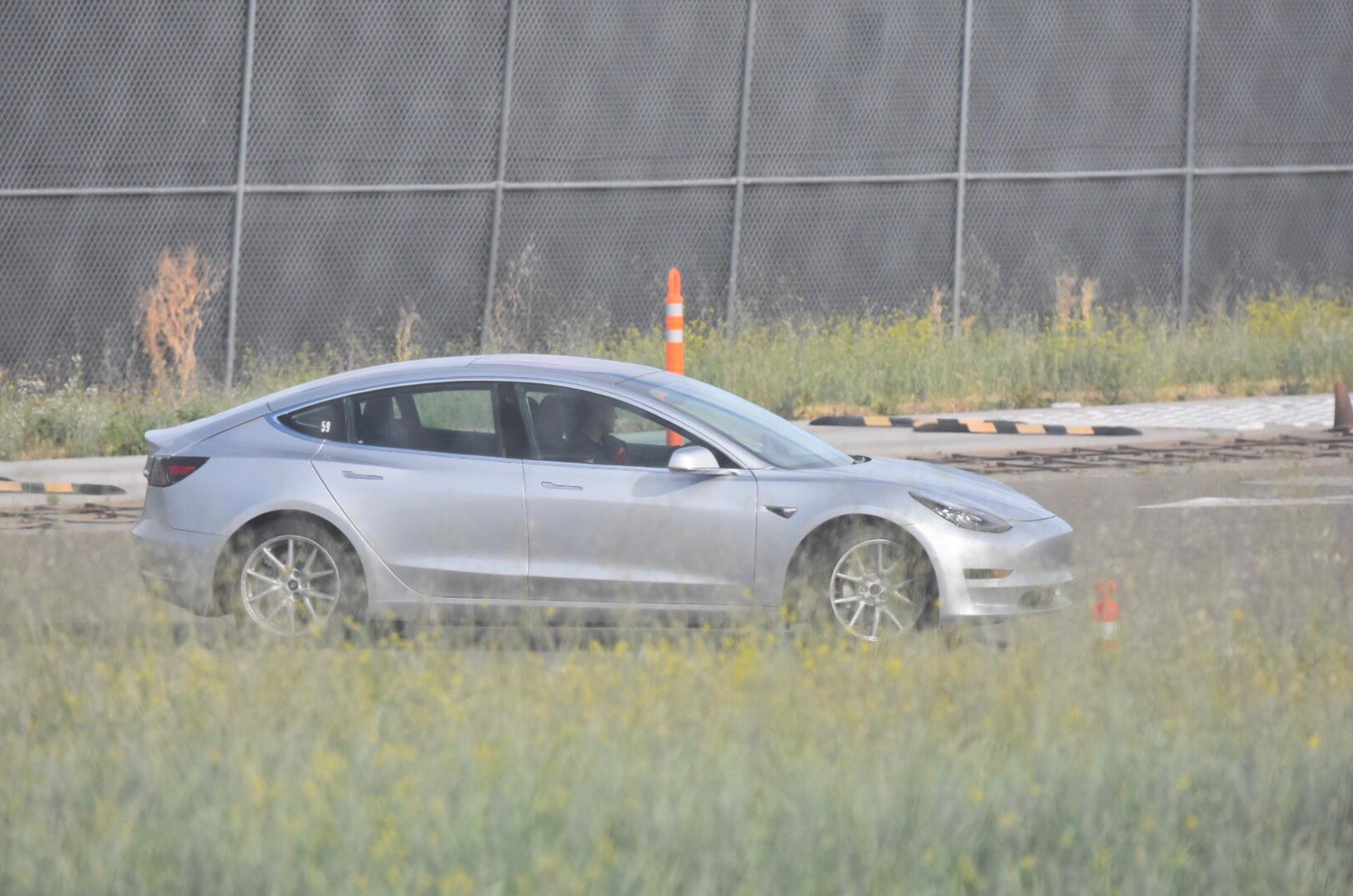 Silver-Tesla-Model-3-test-track-fremont-2