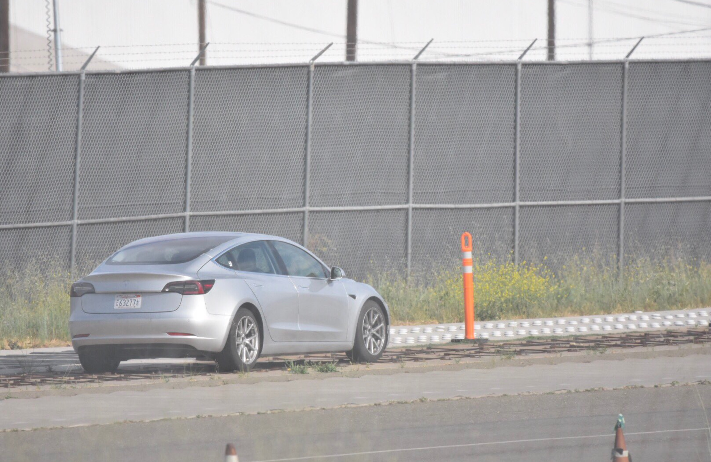 Silver-Tesla-Model-3-test-track-fremont
