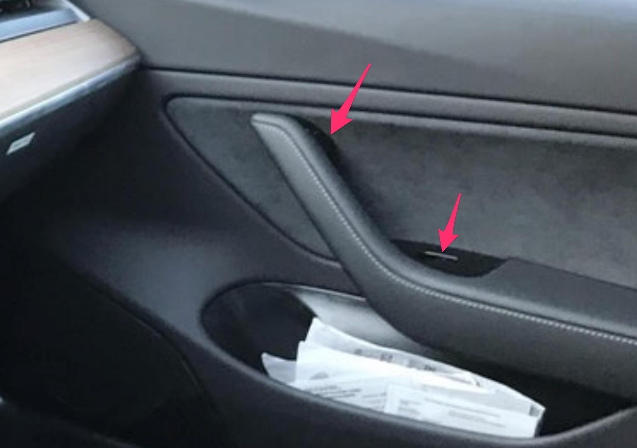 Tesla Model 3 hidden details: door lock, coat hooks, charge