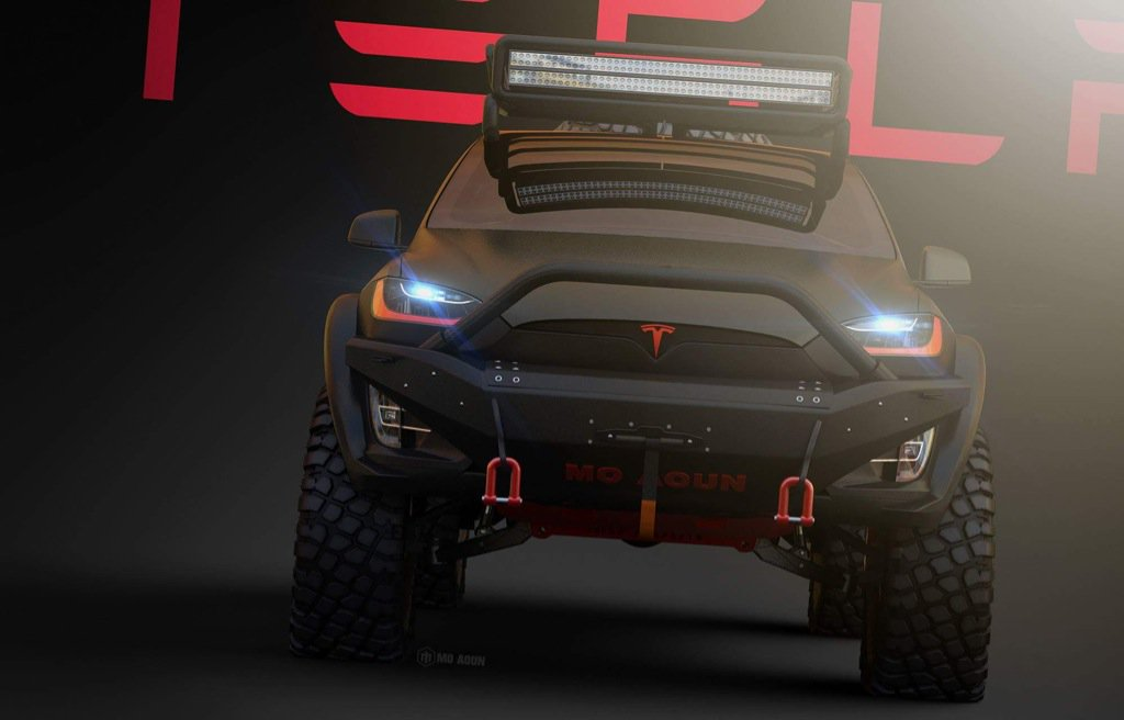 Electric Pickup Truck >> Aggressive Tesla Model X off-roader imagined by graphic artist Mo Aoun
