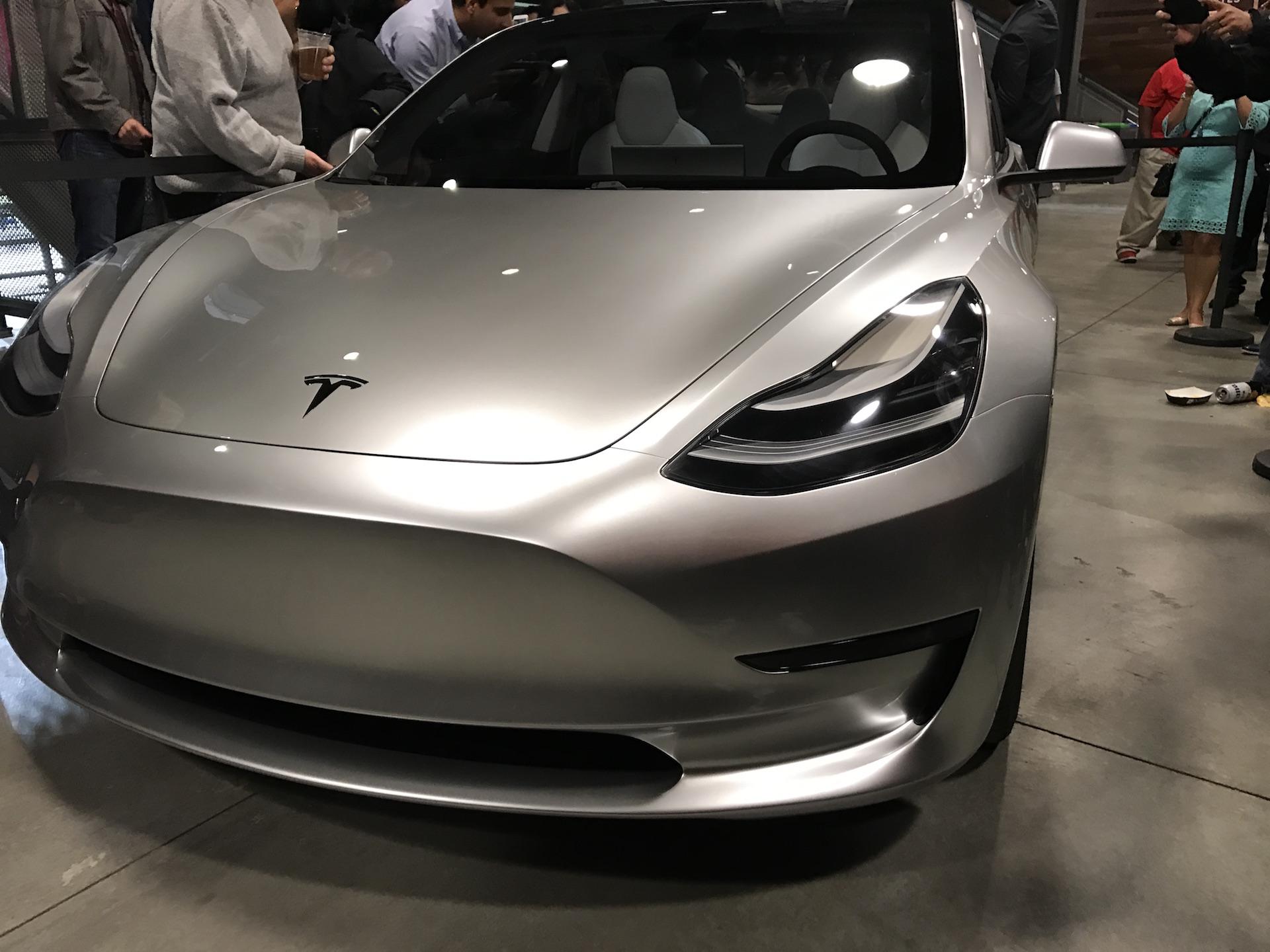 Silver-Tesla-Model-3-front-employee-party-5