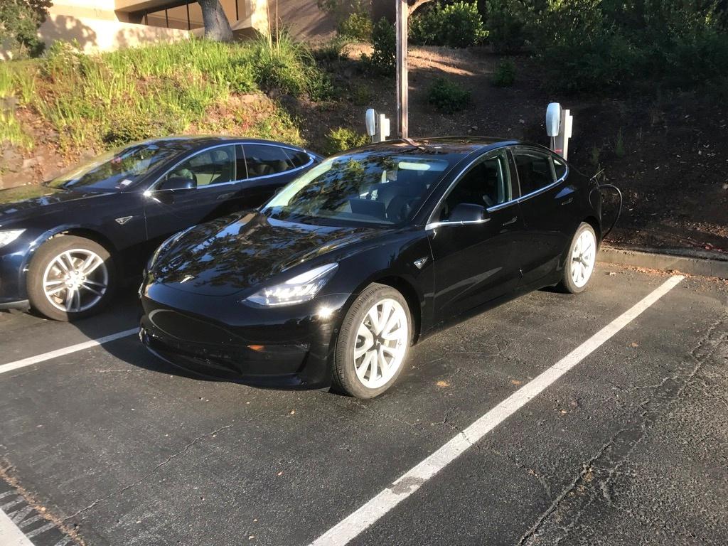 Black Tesla Model 3 Charging Palo Alto Hq Teslarati
