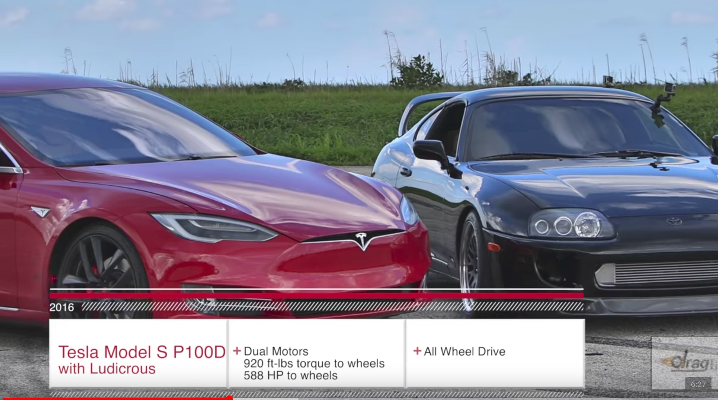 Tesla Model S P100D vs 1 000HP Toyota Supra Turbo in drag race and