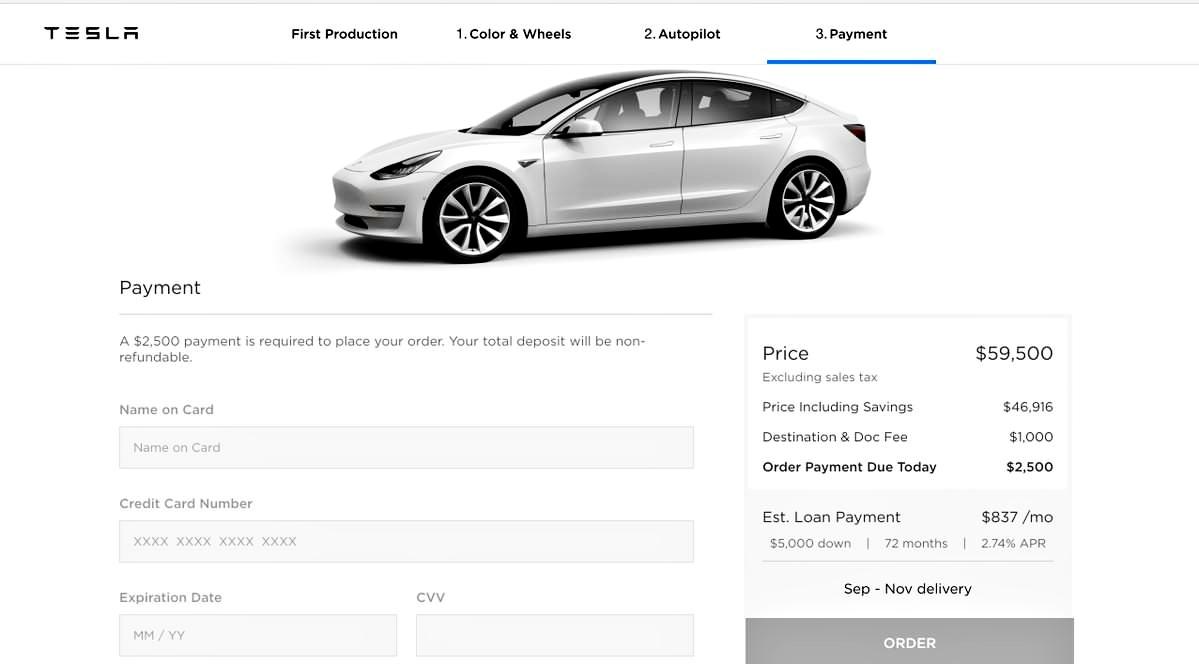 Tesla Model 3 Configurator Payment Screen