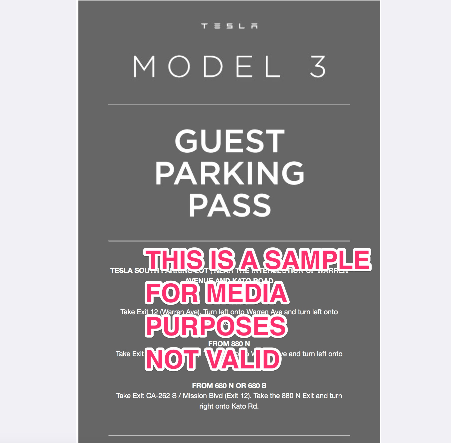tesla-model-3-delivery-event-guest-parking-pass