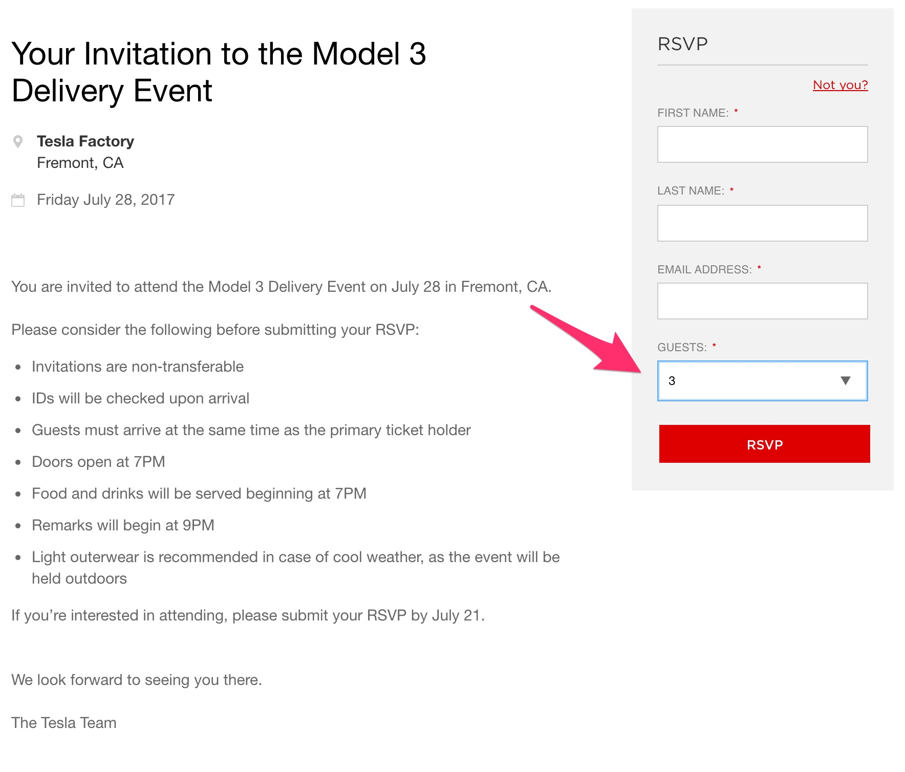 Tesla model 3 delivery event fremont factory 7pm pt on july 28 musk stopboris