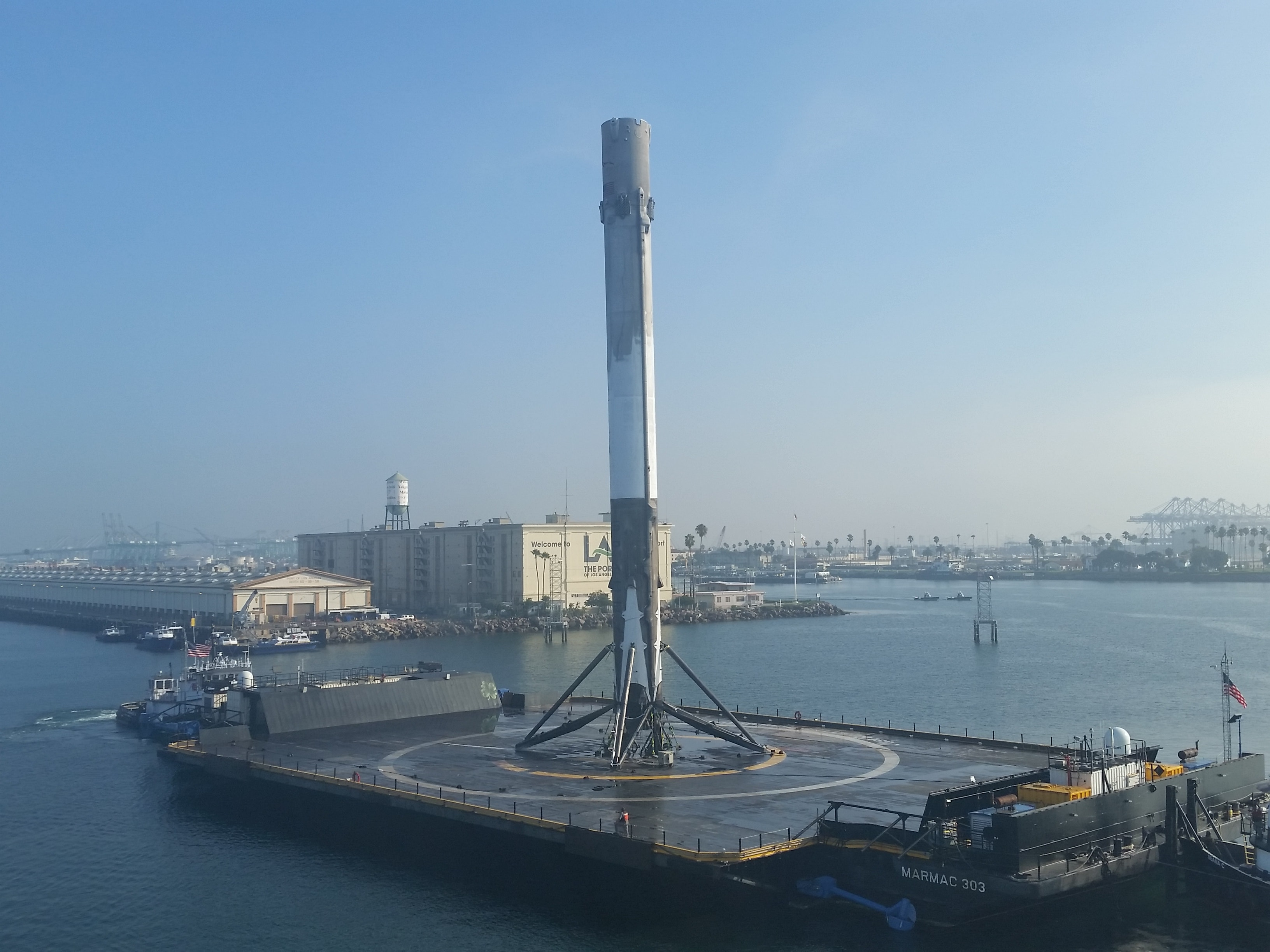 Spacex S 15th Recovered Falcon 9 Arrives In Port After A