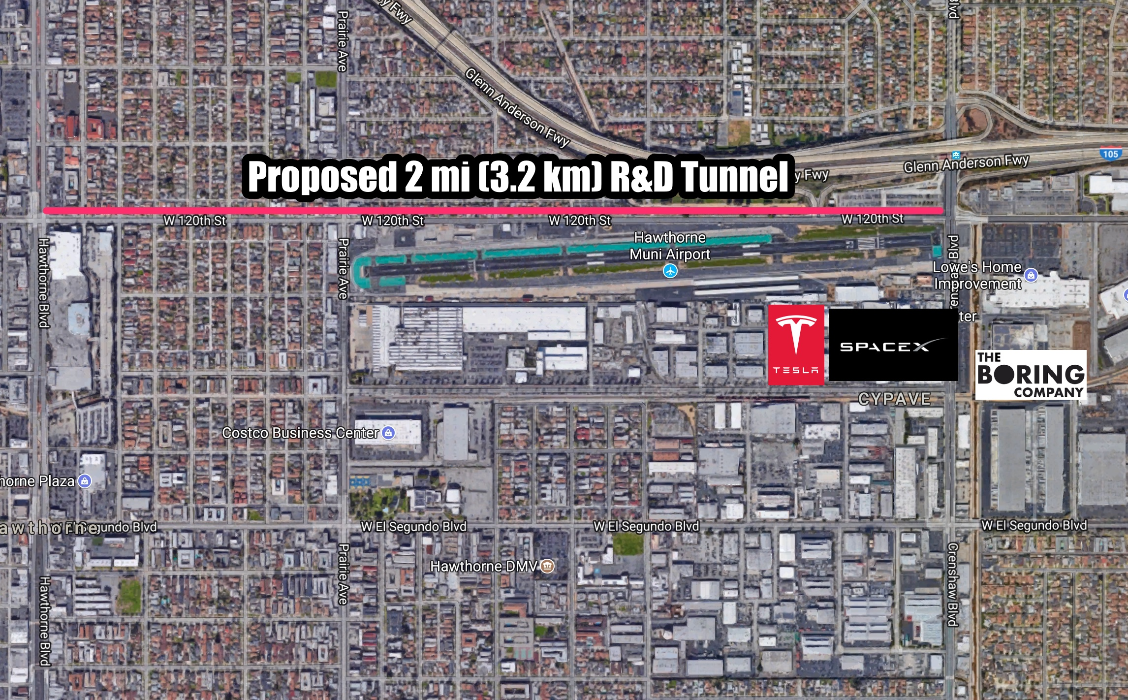 map-the-boring-company-tunnel-hawthorne