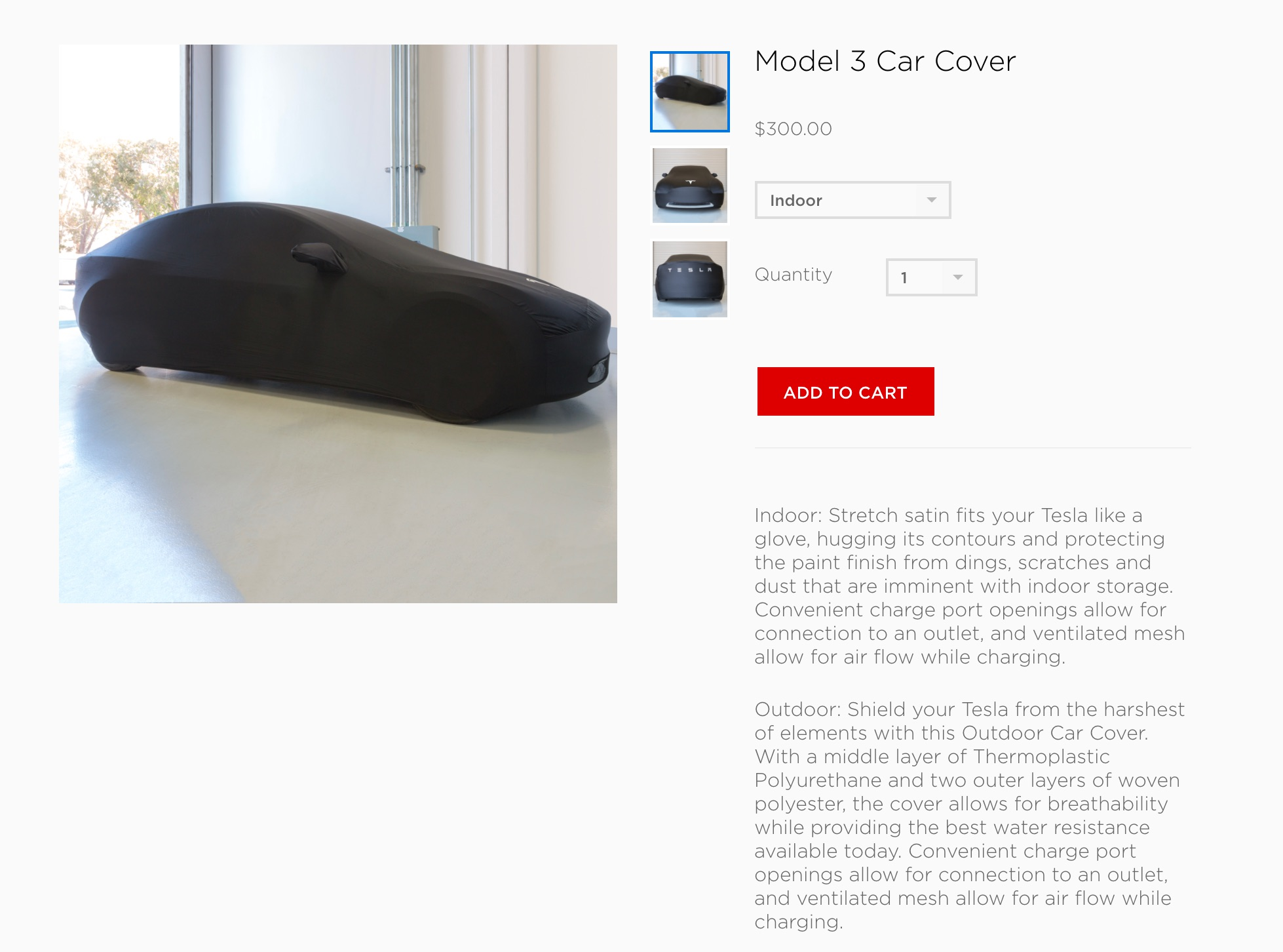 Tesla adds Model 3 car cover as optional accessory to online