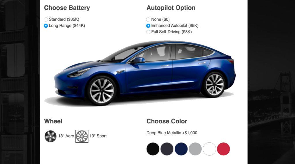 tesla model 3 cost estimator computes actual cost after options and tax credit. Black Bedroom Furniture Sets. Home Design Ideas