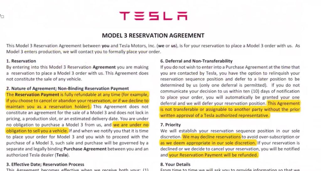 tesla legal questions can you sell your model 3 reservation video. Black Bedroom Furniture Sets. Home Design Ideas