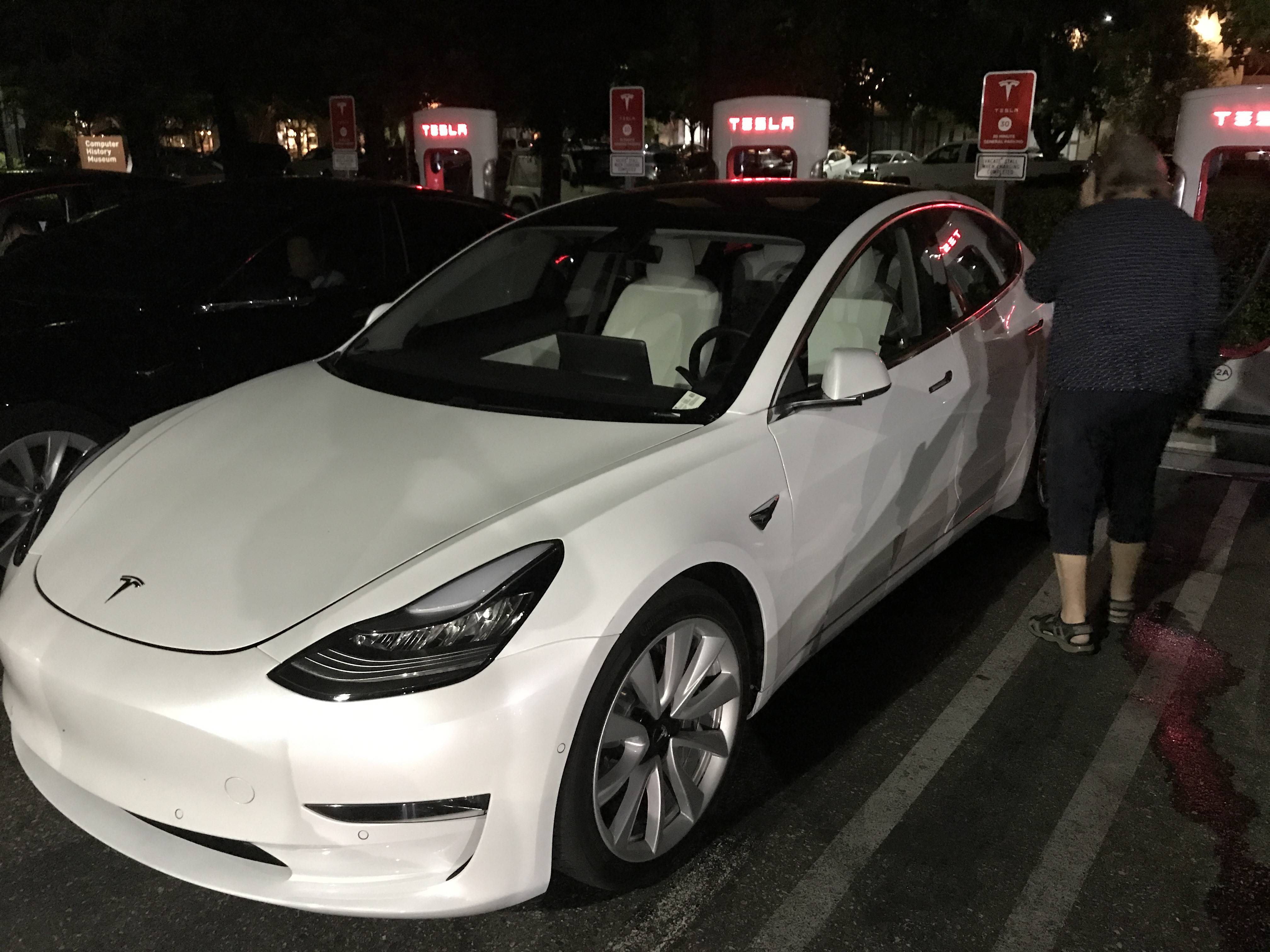 Tesla Model 3 with white interior