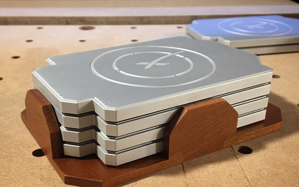 SpaceX Fan Gifts Elon Musk A Set Of Homemade Drone Ship Coasters