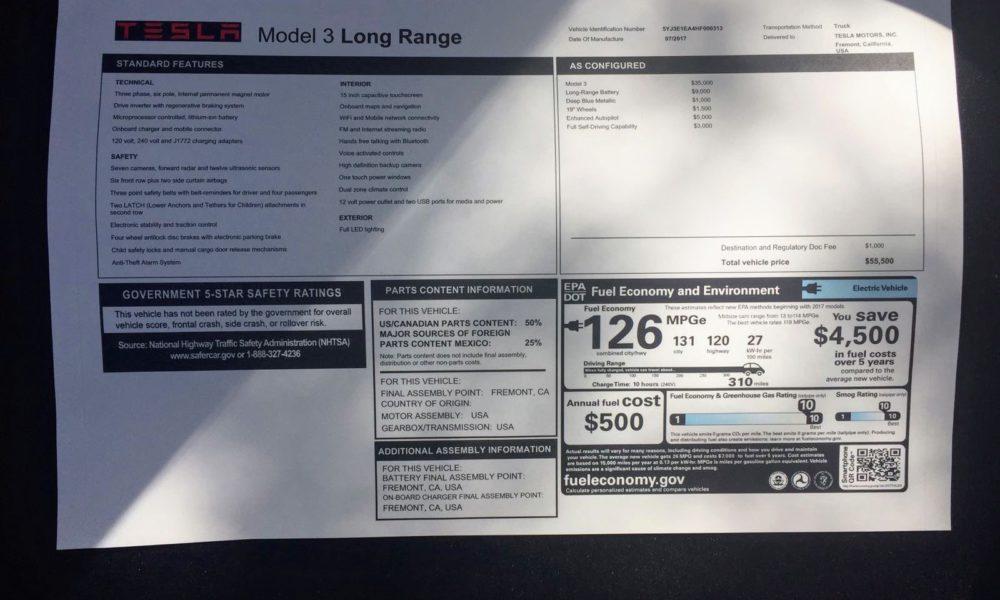 Tesla Model 3 Actually Has 334 Miles Of Range According To