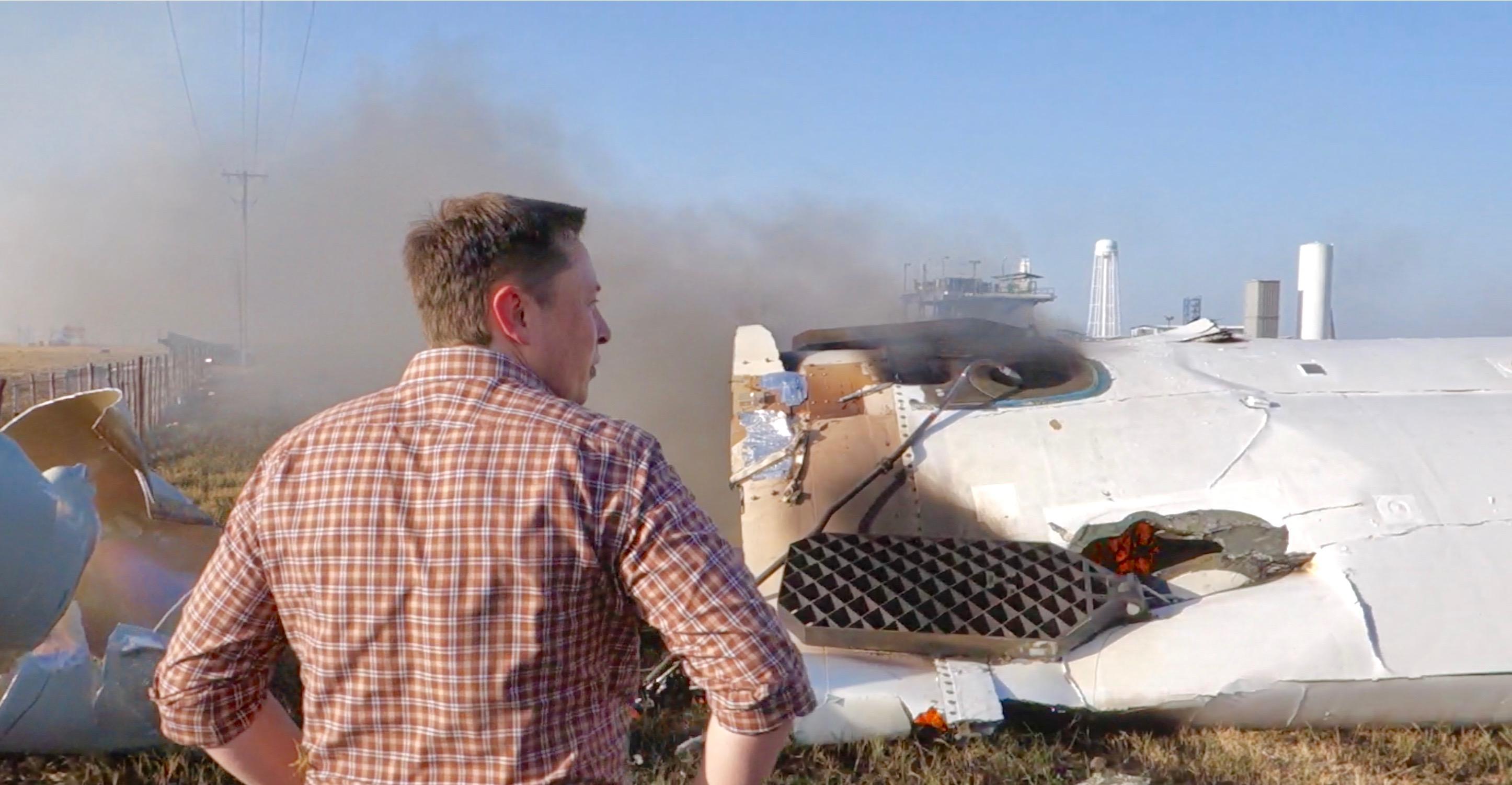 Elon and F9R wreckage (Steve Jurvetson)