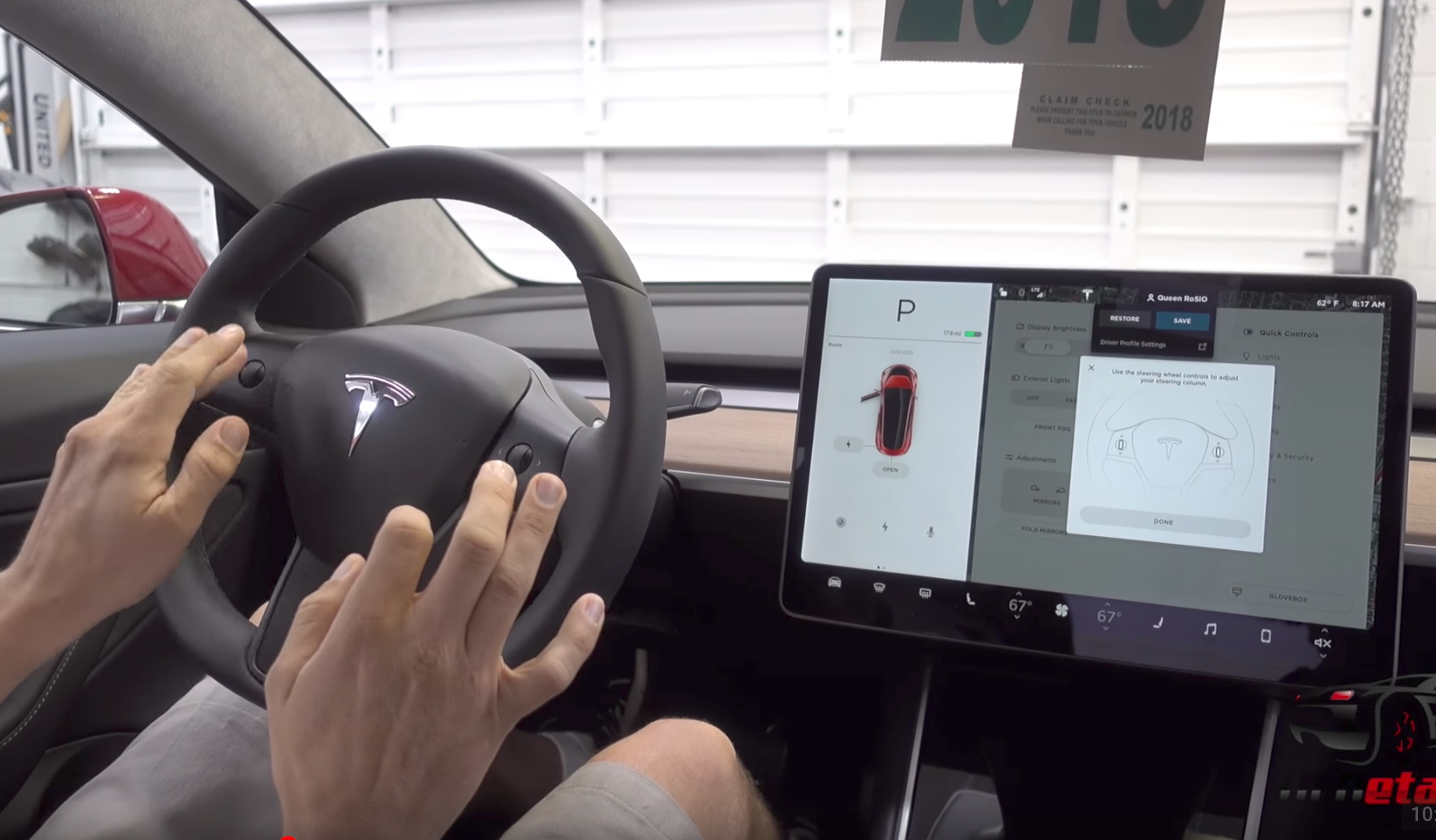 Tesla Model 3 interior features: Steering wheel adjustments, glovebox, coat hooks, vanity mirror, and more