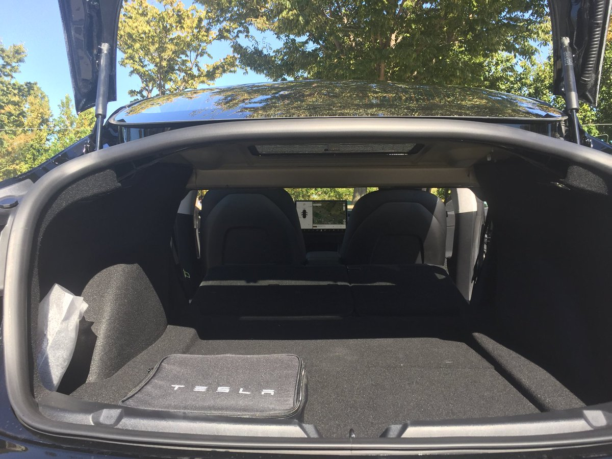 Tesla Model 3 Trunk Folded Cargo Space Teslarati Com