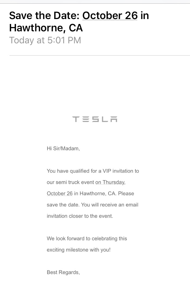 Tesla Save The Date Email For Its October 26 Semi Truck Event Courtesy Of Like