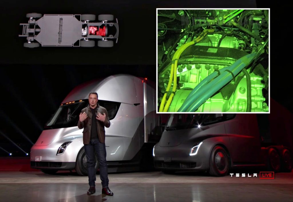 Tesla Model S Interior >> Sneak peek at Tesla Semi's four Model 3 electric motors and gearbox