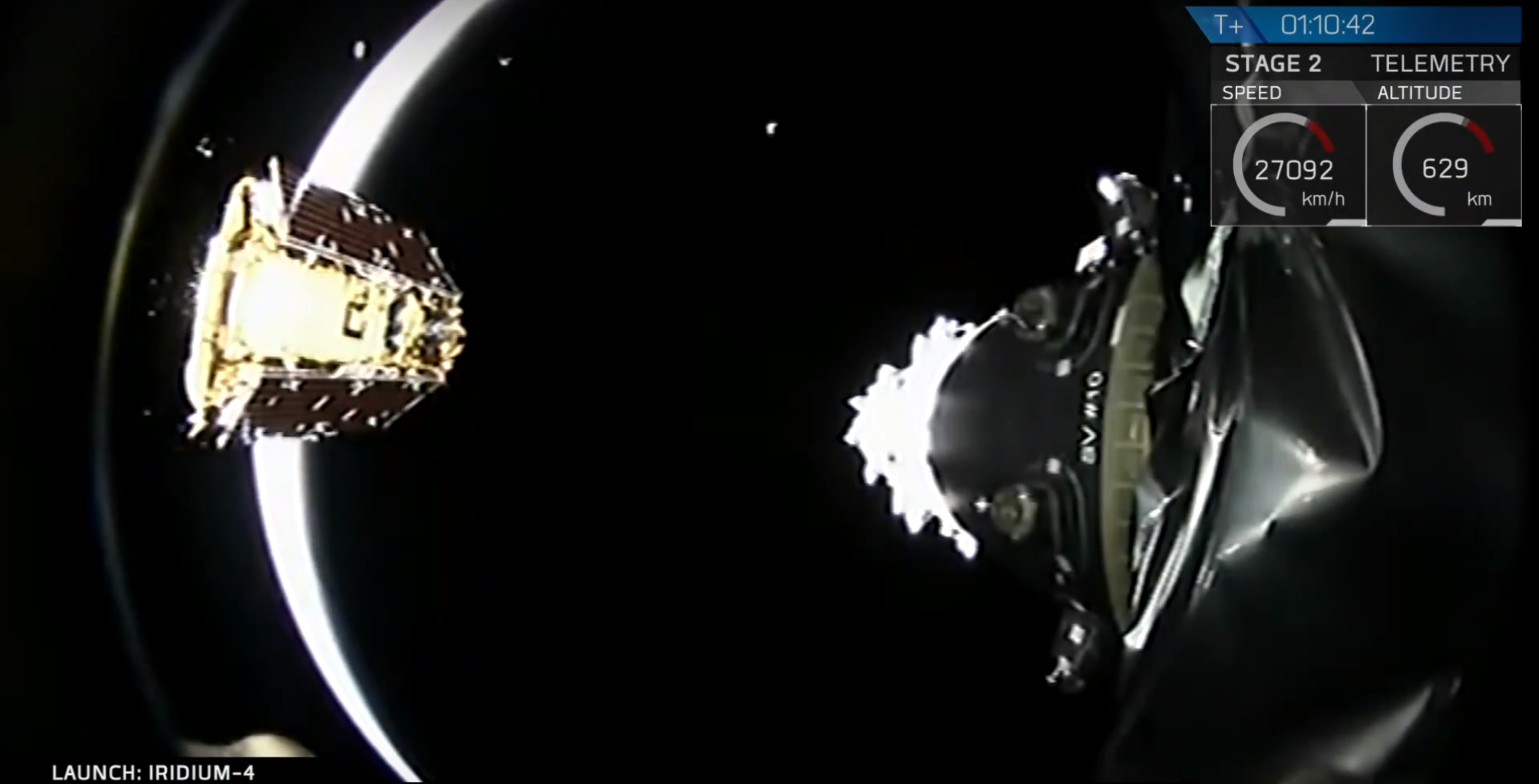 Iridium4 deployment eclipse (SpaceX)