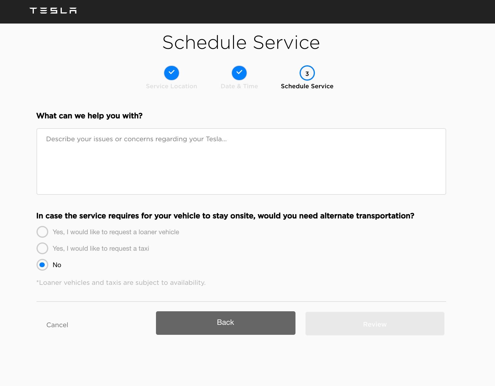 tesla-service-online-scheduling