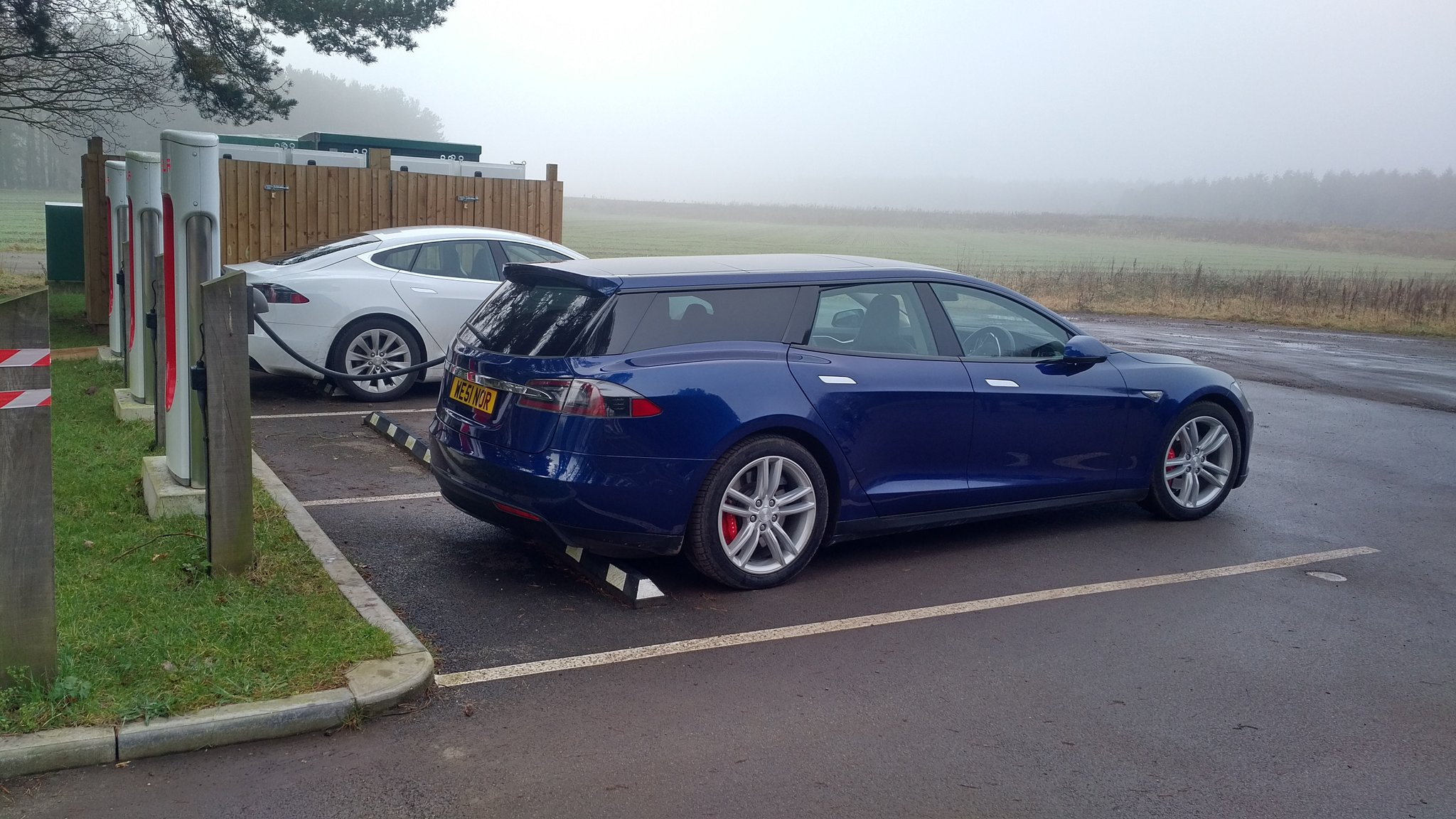 Tesla Model S Shooting Brake Wagon Spotted Supercharging