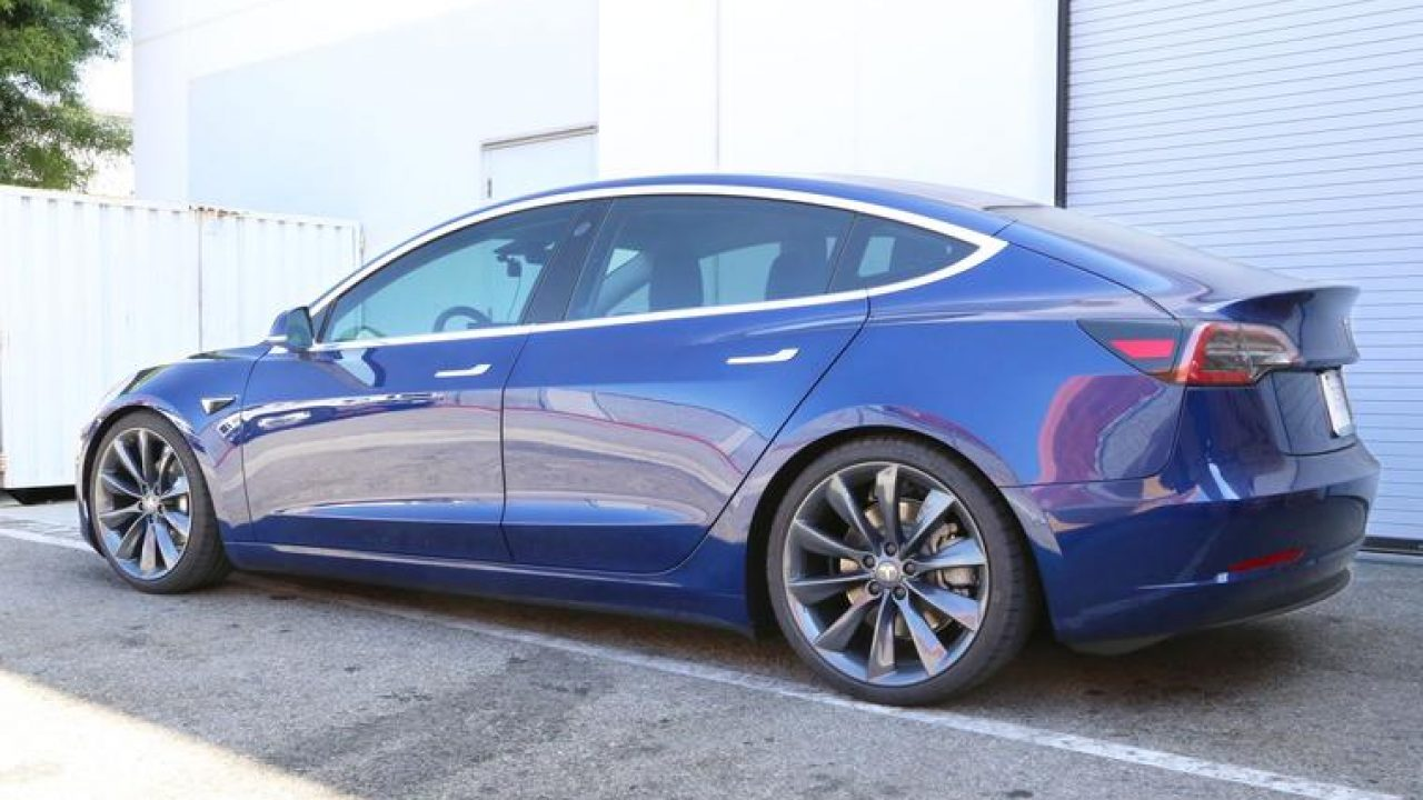 Tesla Model 3 Gets A Bold Look With 20 Turbine Wheels In Metallic Grey