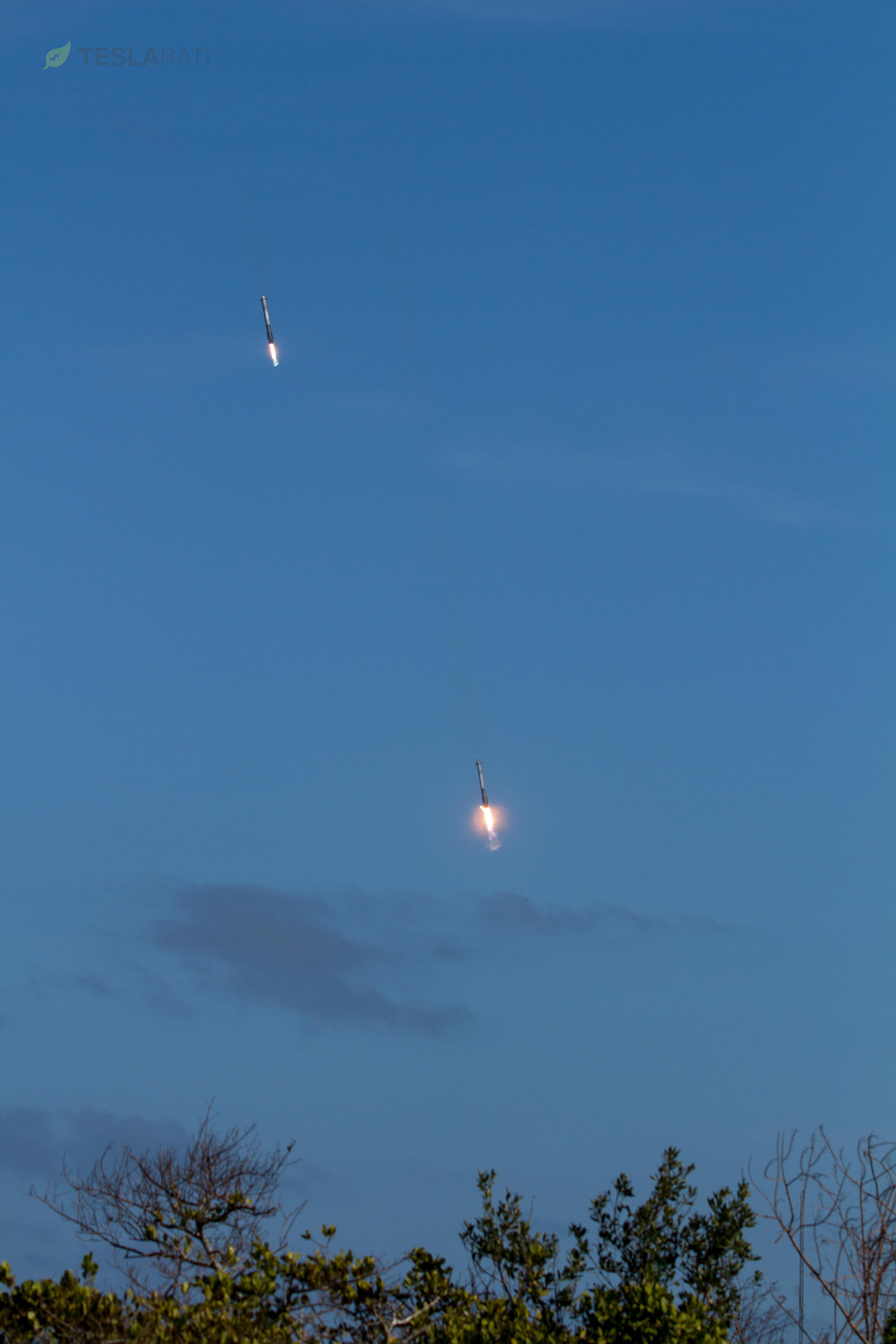 FH side booster landing burn (Tom Cross)