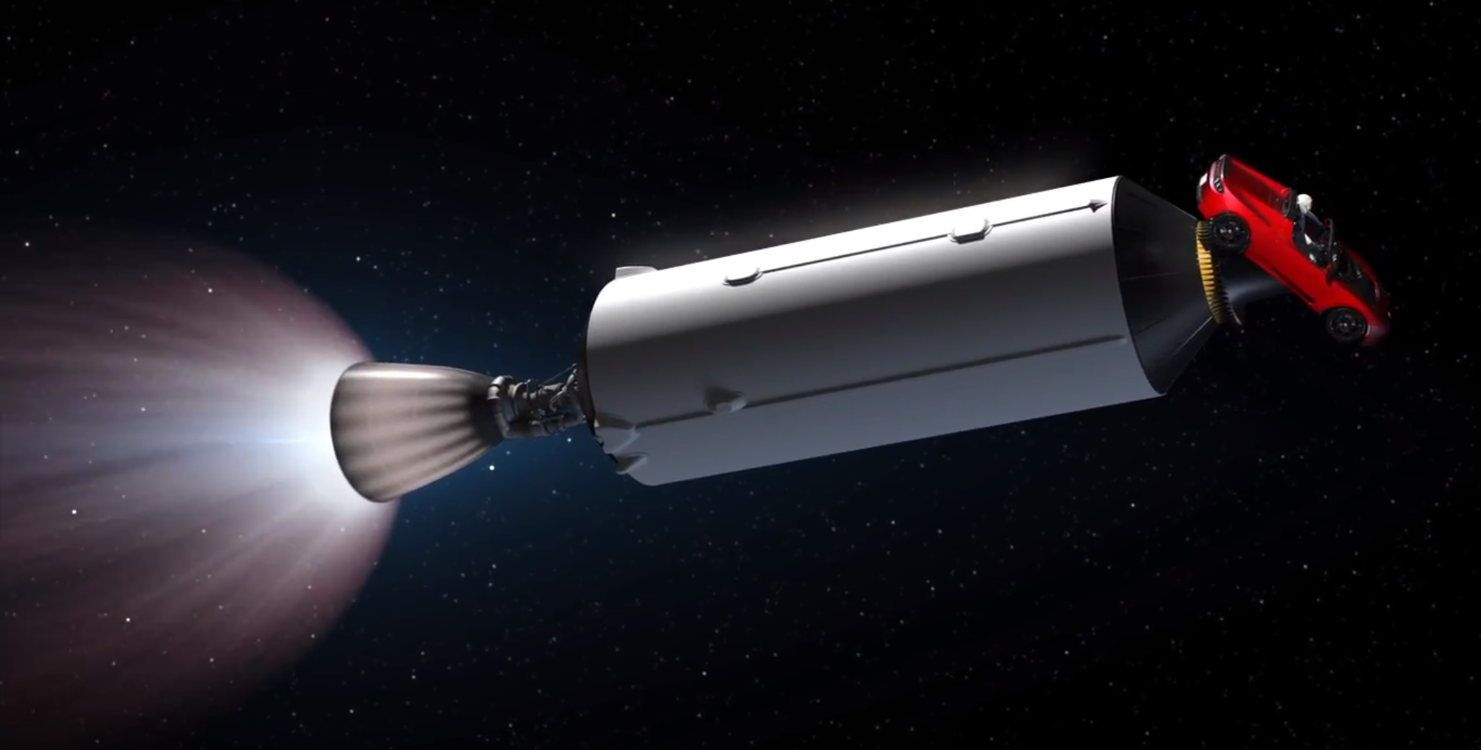 Falcon Heavy Roadster in space (SpaceX)