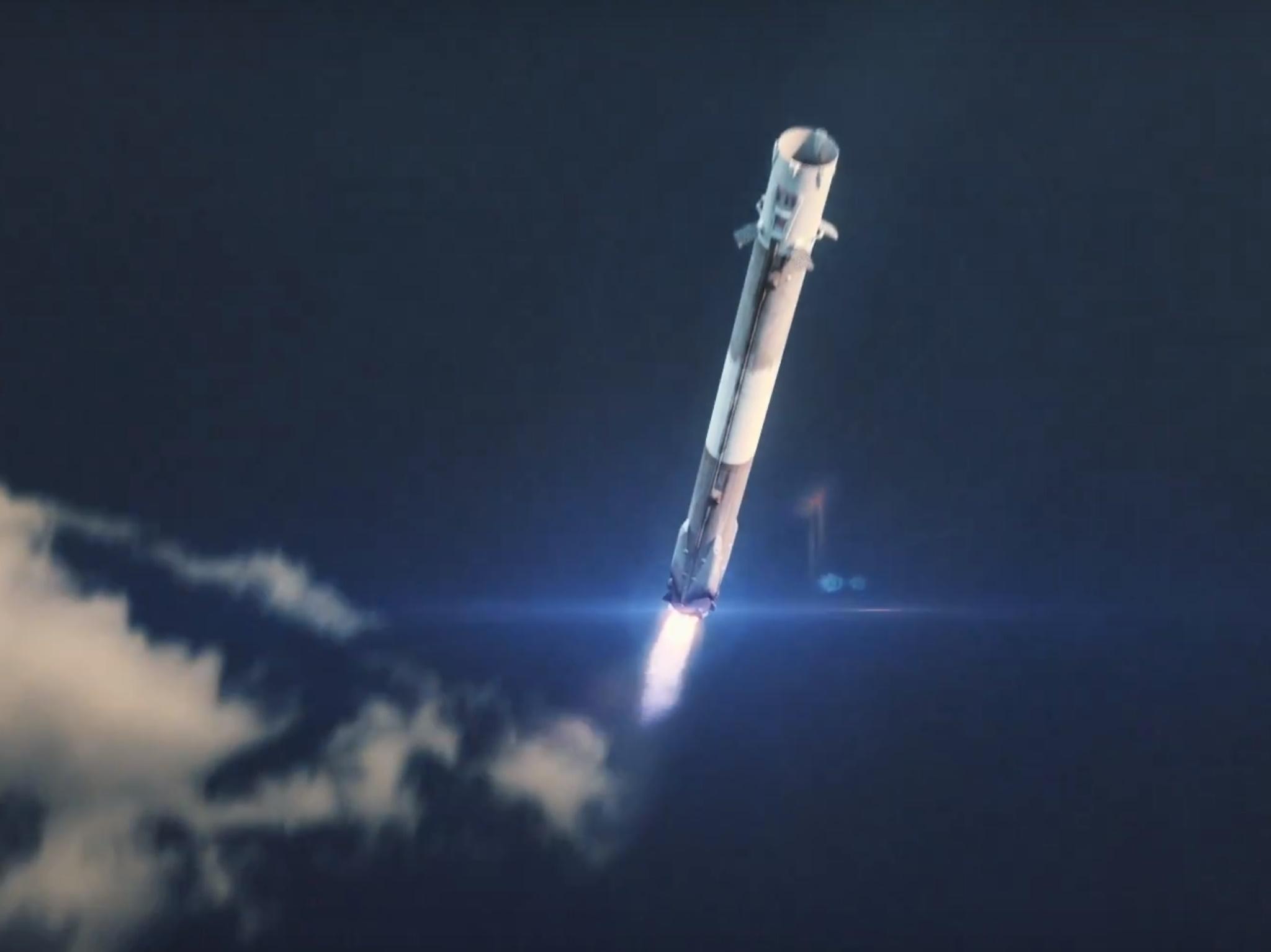 Falcon Heavy center core recovery (SpaceX)