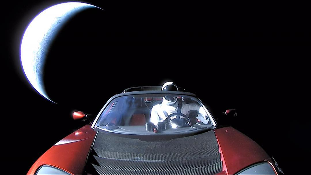 Starman departs from Earth (SpaceX)