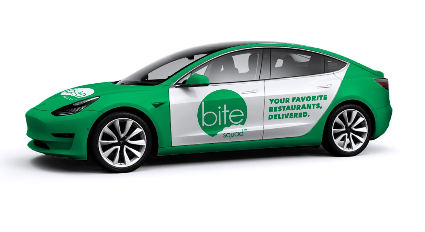 bite-squad-tesla-model-3-food-delivery