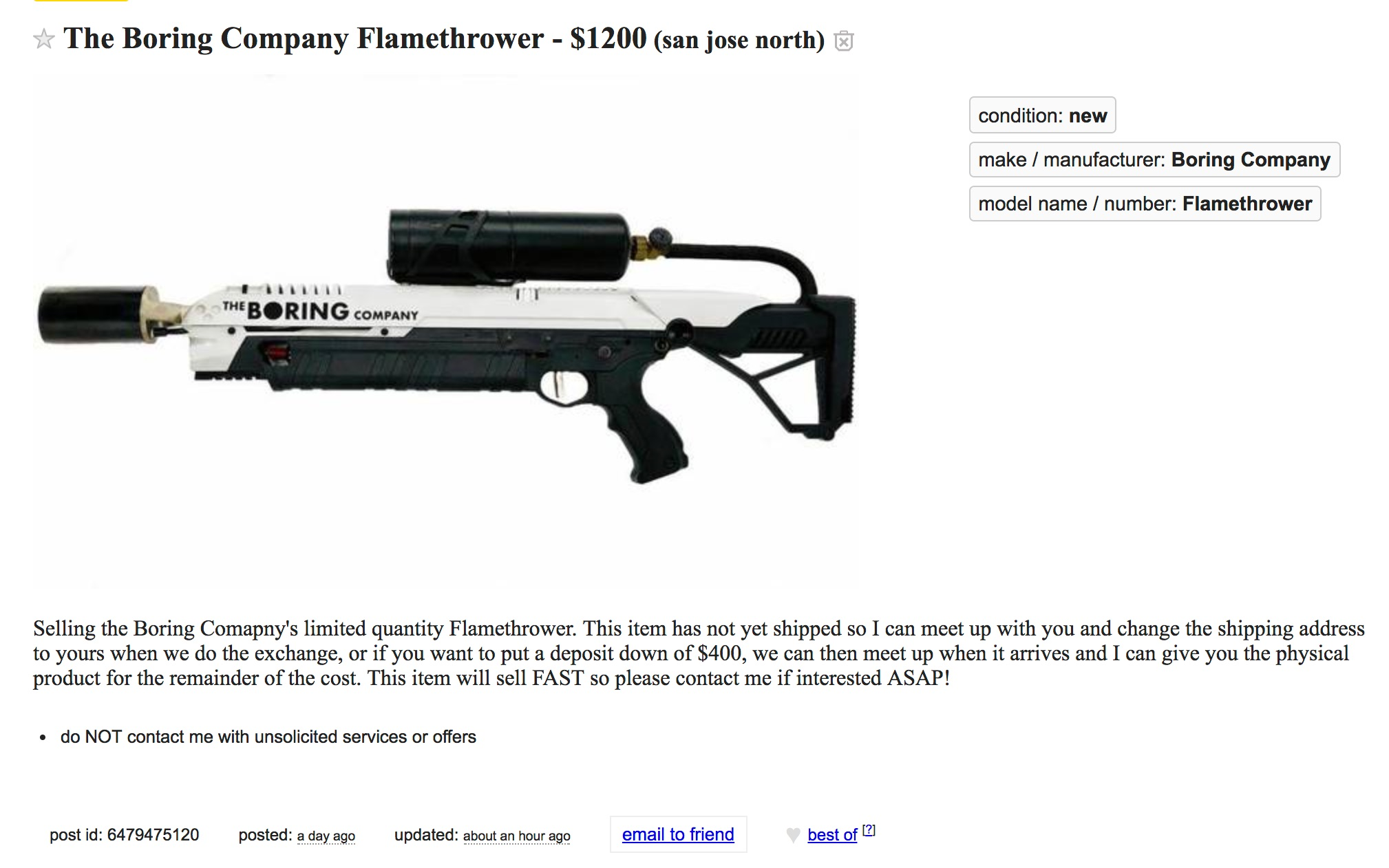 craigslist-boring-company-flamethrower-for-sale