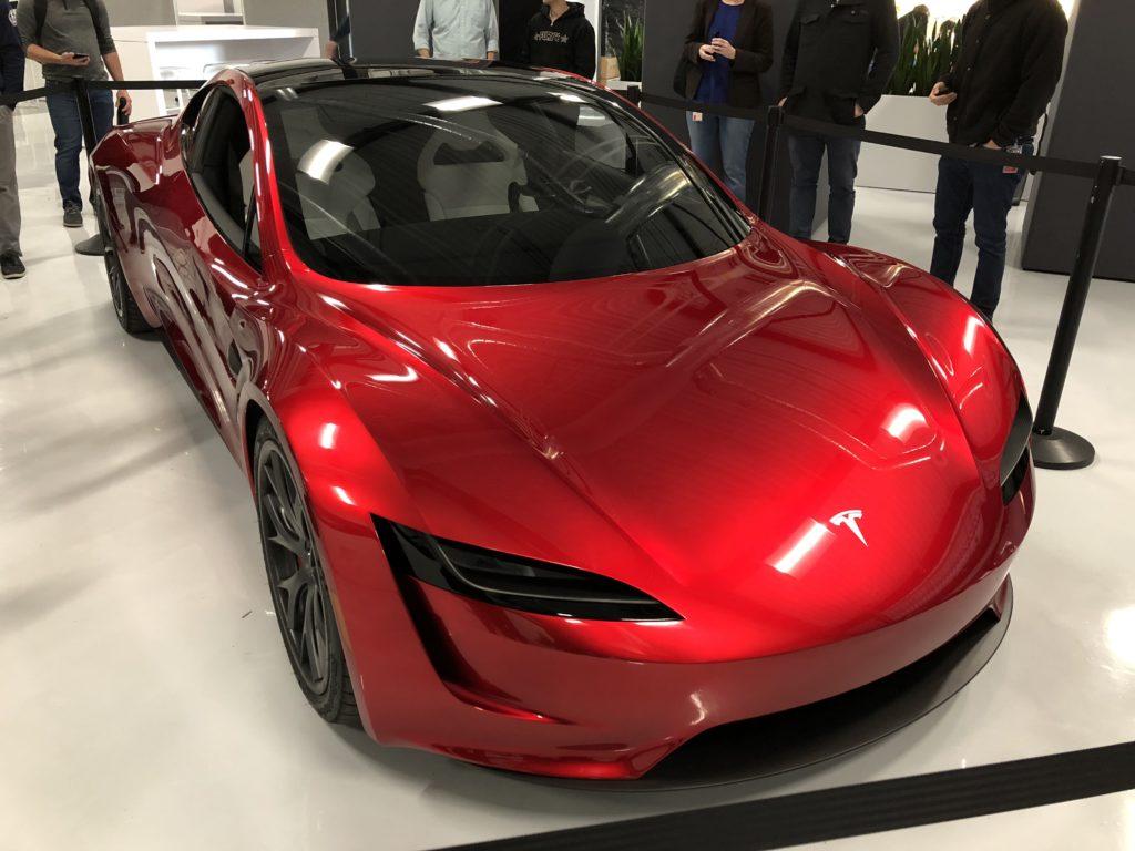 Red Tesla Roadster Palo Alto Hq