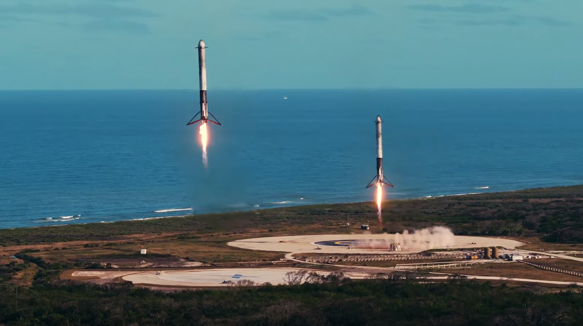 Falcon Heavy side booster landings (SpaceX)