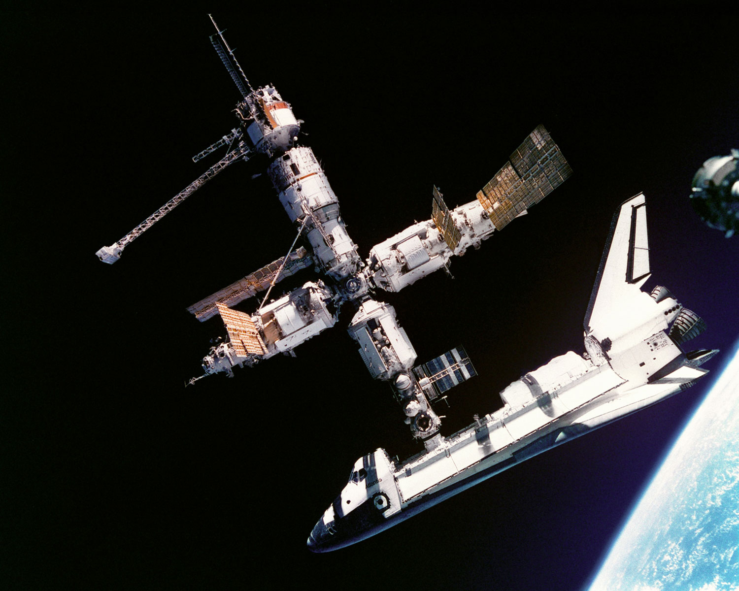 Shuttle Atlantis docked with ISS (NASA)