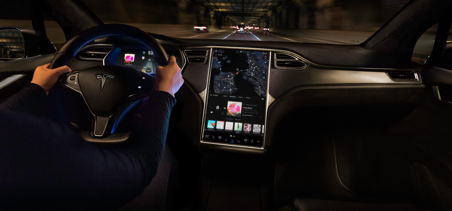 Tesla Model touchscreen MCU maps [Credit: Tesla]