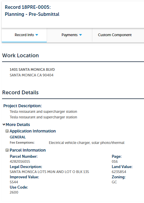 Tesla Supercharger restaurant permit [Screenshot from smgov.net]