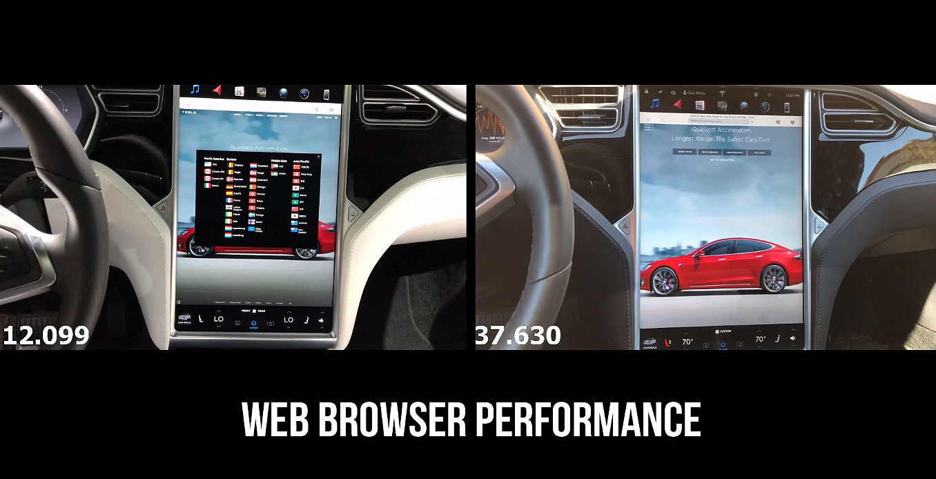 A controlled test of the speed and performance of Tesla's old and new MCU units for the Model S and Model X. [Credit: My Tesla Adventure/YouTube]
