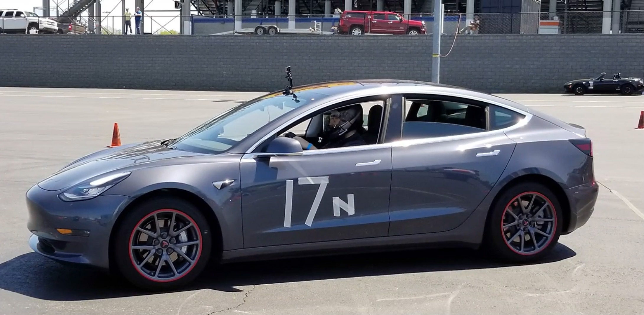 Model 3 autocross run 1 [Credit: Chestley Couch/YouTube]