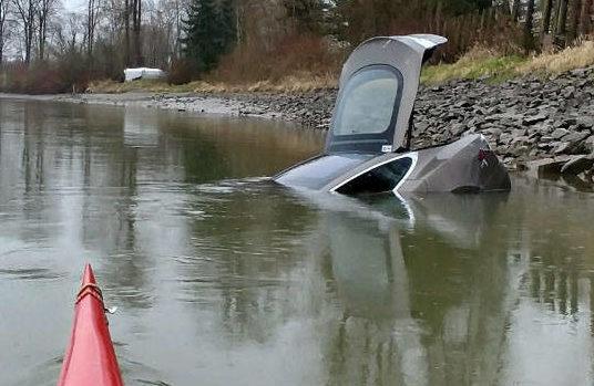 Stolen Tesla Model S river [Credit: The Langley Times/Facebook]