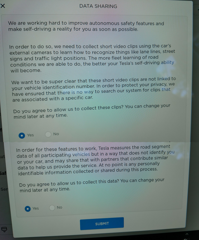 Tesla data sharing FSD [Credit: dirtyfries/Reddit]