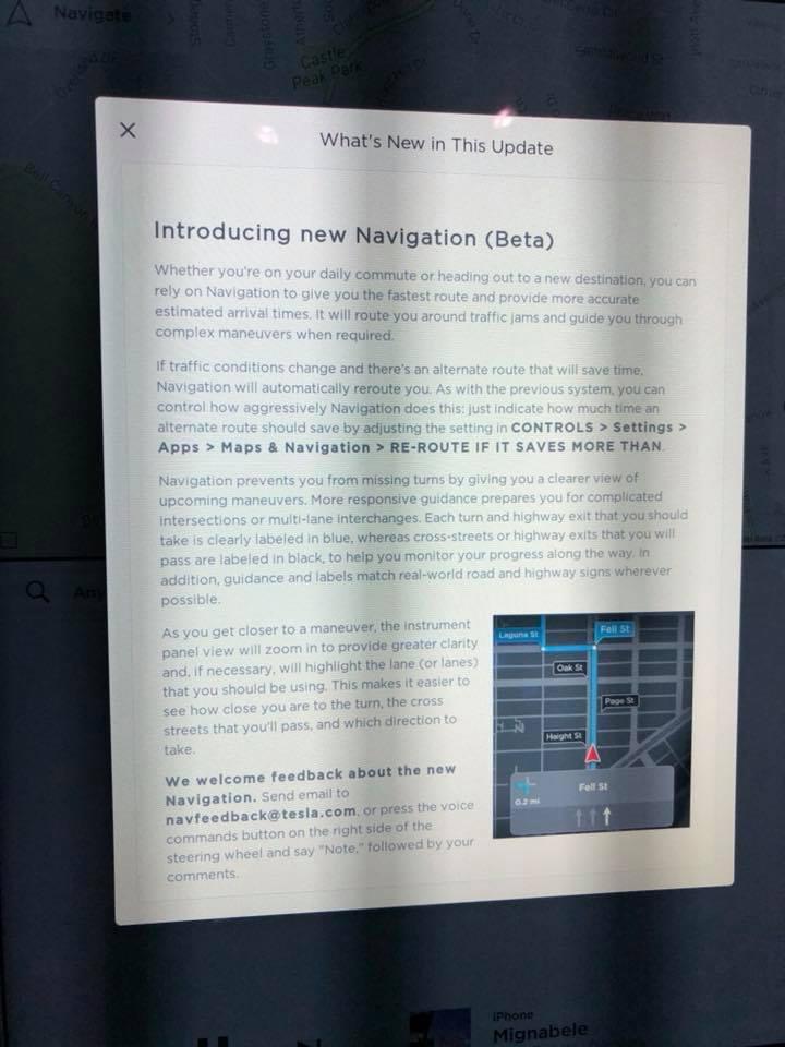 Tesla new navigation mature beta release notes [Credit: Daniel Nasserian/Facebook]