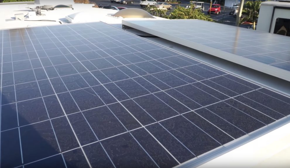 Tesla battery module and solar panels power couple's RV