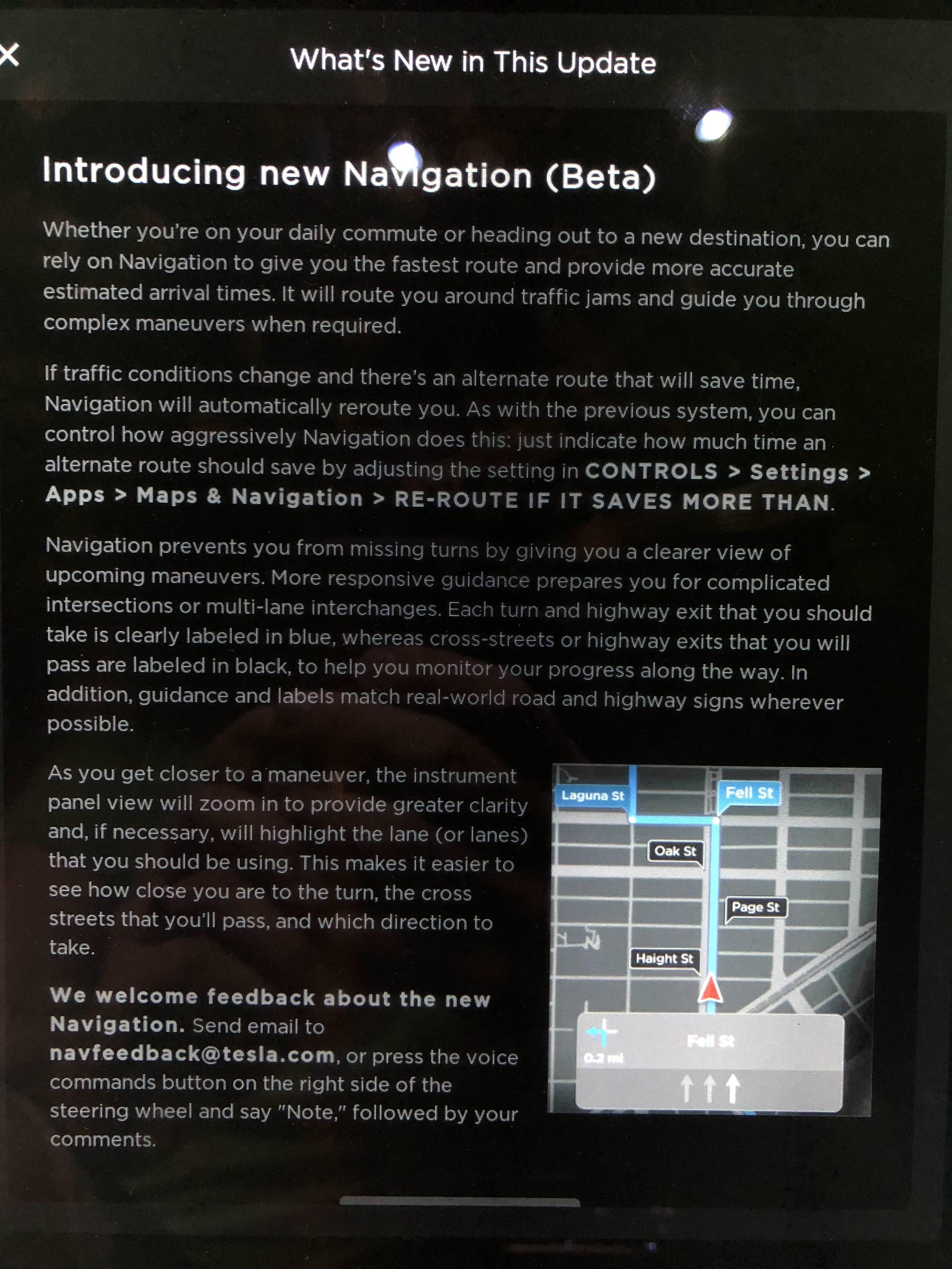 tesla new navigation notes 1 [Credit: u/railroad099/Reddit]